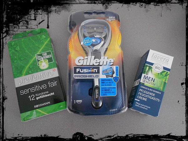 Schön für Ihn Box von Rossmann Kondome und Gillette Fusion Proshield und Lavera Creme Probenqueen