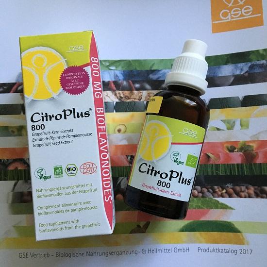 GSE-CitroPlus Verpackung und Flasche auf Produktkatalog Probenqueen