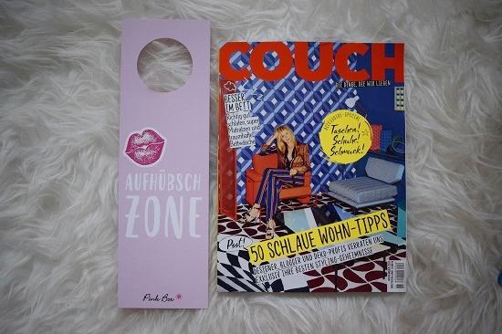 """Pinkbox Metime Zeitschrift Couch und Lesezeichen """"Aufhübsch-Zone"""" Probenqueen"""