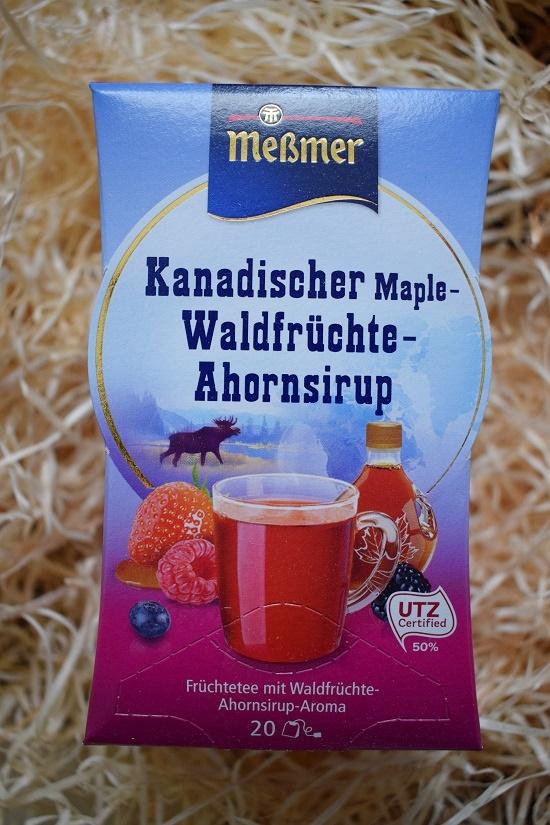 eine Packung Teebeutel von Meßmer kanadischer Waldfrüchtetee mit Ahornsirup