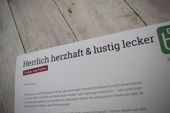 Brandnooz Genussbox Mai Beileger Herrlich herzhaft & lustig lecker Probenqueen