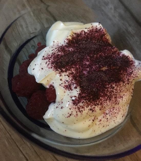 Froogies Fruchtpulver Heidelbeer auf Joghurt mit Himbeeren www.probenqueen.de