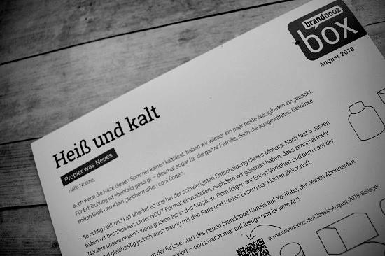 """Brandnooz Box August 2018 Flyer in schwarz weiß """"heiss und kalt"""" www.probenqueen.de"""